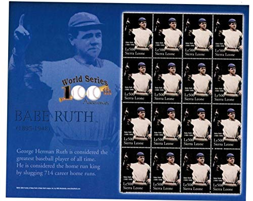 (Baseball Hall of Fame Legends - Babe Ruth - Rare Collectors Stamps - Sierra Leone)
