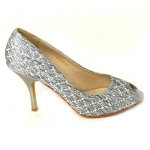 Womens Ladies Diamante HIGH Heel Prom Shoes Wedding Bridal Evening Sandals Various Designs Size 3 4 5 6 7 8 Black (98101-147) zVGdTU8lTb
