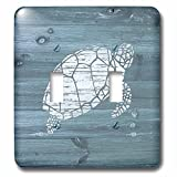 3dRose lsp_261843_2 White Painted Turtle on Blue Weatherboard-Not Real Wood Toggle Switch, Mixed