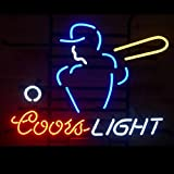 Mirsne neon signs, glass tube neon lights, 24'' by 24'' inch Coors Light Baseball neon signs bar, the best neon sign custom supplied for a wide range of personal uses.