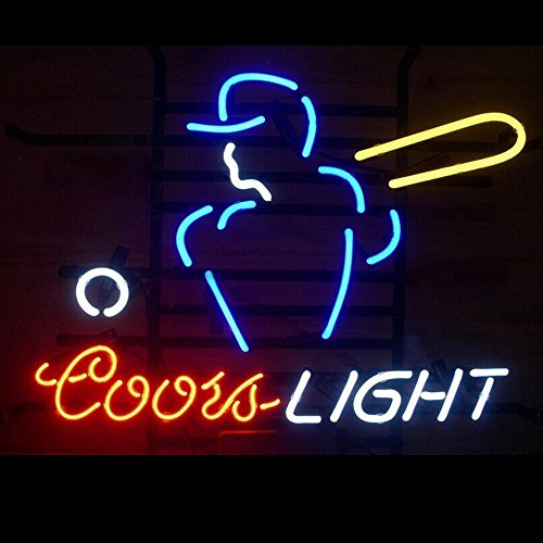 Prang-US Coors Light Baseball Player Neon Signs 19×15 inch, Real Neon Signs made with Glass Tubes, Brilliant Neon Open Sign. Eye-catching Neon Beer (Baseball Neon Light Sign)