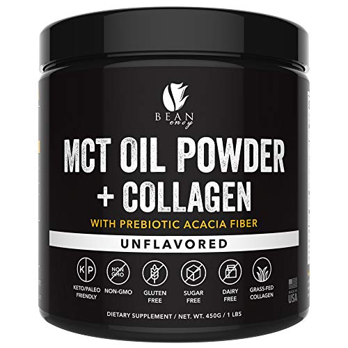 MCT Oil Powder + Collagen + Prebiotic Acacia Fiber - 100% Pure MCT's - Perfect for Keto - Energy Boost - Nutrient Absorption - Healthy Gut Support - Unflavored (Best Supplements For Healthy Gut)