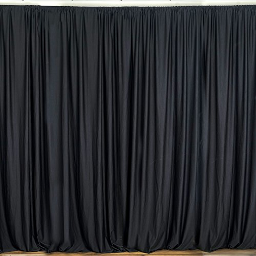 BalsaCircle 10 feet x 10 feet Black Polyester Backdrop Drapes Curtains Panels - Wedding Ceremony Party Home Window Decorations (Trade Show Background)
