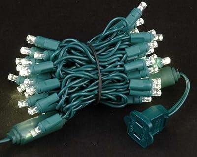 "Novelty Lights, Inc. CGWA50 Commercial Grade LED Christmas Mini Light Set, Wide Angle Bulb (5MM), Green Wire, 2.5"" Spacing, 50 Light, 11' Long"