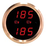 VEI Systems Dual-Display gauge: Dual 320 deg-F transmission temperature gauge (red/silver)