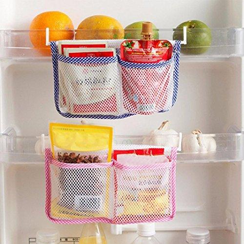 Iusun Kitchen Refrigerator Hanging Storage Bag Food Organizer Fridge Mesh Holder Fridge Grid Storage Bag (Blue) (Gift Baskers)