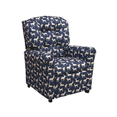 (Brazil Furniture 400-deer Navy Children's Button Back Recliner, Deer Blue)