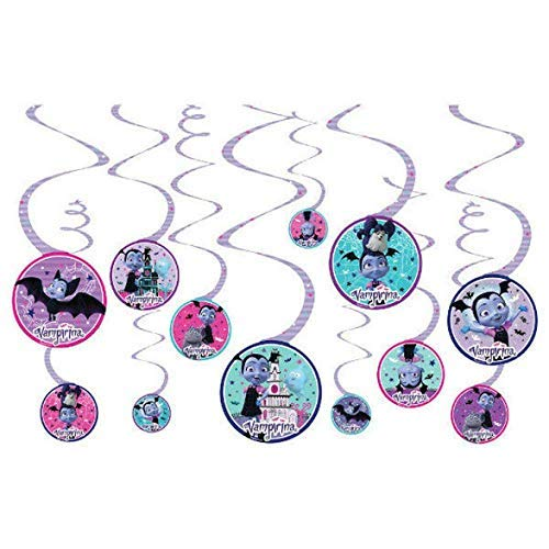 Stickers Swirl Hanging Decorations Vampirina Birthday Party Supply Bundle Set for 16 includes Dessert Plates Napkins Table Cover Cups Candles