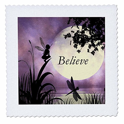 3dRose qs_35696_1 Believe, Fairy with Dragonflies with Moon and Purple Sky-Quilt Square, 10 by 10-Inch (Moon Cotton Quilt Fabric)