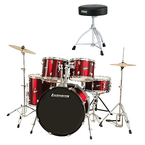 ludwig-5-piece-accent-drive-drum-set-wine-red-with-hardware-cymbals-with-tama-ht130-standard-double-