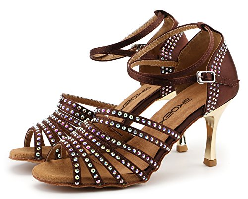 SKOEX Womens Satin Latin Salsa Tango Dance Shoes 2.95 Flared-Heel Sandal Brown P1apgG
