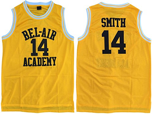 fc83050d5c0e MVG ATHLETICS Smith  14 Bel Air Academy Throwback Basketball Jersey  Embroidery Yellow S-XL (Large)