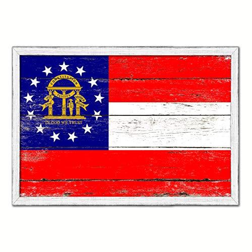 (Georgia State Flag White Cottage Farmhouse Shabby Chic Gifts Home Decor Wall Art Canvas Print, Wash Wood Frame, 19