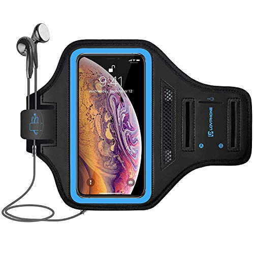 LOVPHONE iPhone Xs Max Armband, Sport Running Exercise Gym Case for iPhone Xs Max,Fingerprint Sensor Access Supported with Key Holder & Card Slot,Water Resistant and Sweat-Proof(Blue)
