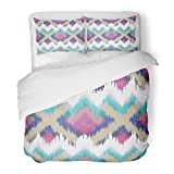 SanChic Duvet Cover Set Colorful Arabic Abstract Ethnic Ikat Pattern Traditional on the in Indonesia Asian Countries Boho Decorative Bedding Set with 2 Pillow Shams Full/Queen Size