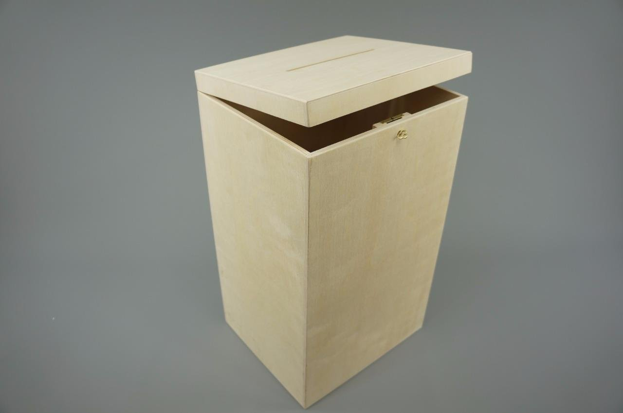 P29//50 LOCKABLE PLAIN WOOD WOODEN BOX FOR WEDDING CARDS POST BOX WISHING WELL