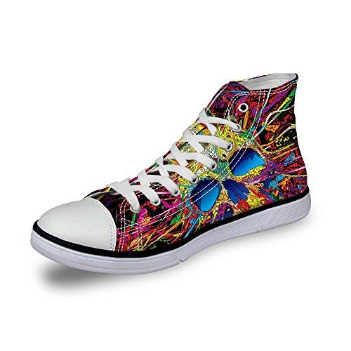 Pour U Conceptions Punk Skull Hommes Chaussures De Toile Haute Top Respirant Chaussures De Tennis Crâne-4