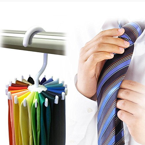 Adjustable 360° Rotating 20 Hook Neck Ties Organizer Men Tie Rack Hanger Holder Home Shawl Multi-Pack Bundle Strong And Bendable Brand - Uk Co Station Watch