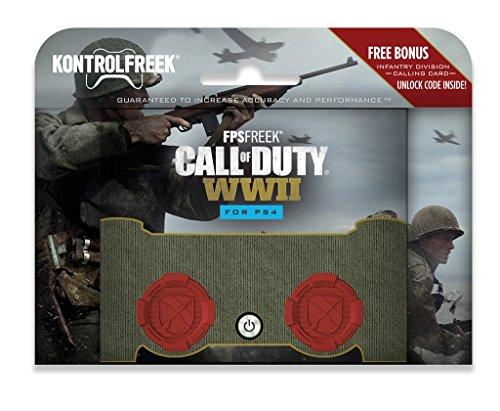 KontrolFreek FPS Freek Call of Duty: WWII for PlayStation 4 Controller (PS4) | Performance Thumbsticks | 2 High-Rise Concave | Red 1