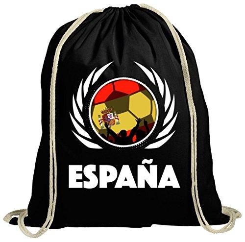 ShirtStreet Espana Spain Wappen Soccer Fussball WM Fanfest Gruppen Fan natur Turnbeutel Gym Bag Fußball Spanien Schwarz Natur