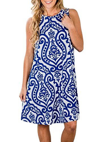 ZESICA Women's Summer Sleeveless Damask Print Pocket Loose T-shirt Dress, Blue, Medium