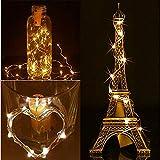 Solar LED String Light, Elevin(TM) 2M 20LED Solar Cork Wine Bottle Stopper Copper Wire String Lights Fairy Lamps (Beige)