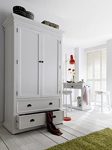 Armoire in White Antique Brass Hardware Clothes Bar Crown Molding Signature Pure White Color Semi-gloss Painted Finish Topped with a Durable Sealer Two Large Drawers by AVA Furniture