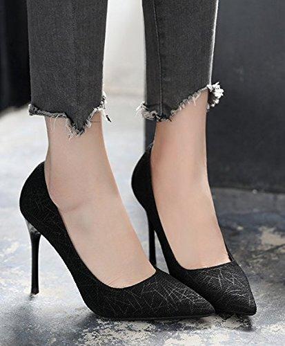 Moda Night Sandali Stiletto alti Club 39 Unico tacchi poco scarpe Ajunr Da Joker profon Donna 10cm Alla 37 Suggerimento Nero Bocca di wIxzdq4