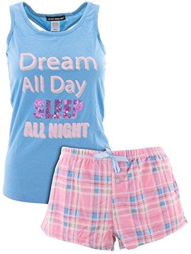5 More Minutes Juniors Dream All Day Blue Short Pajamas L