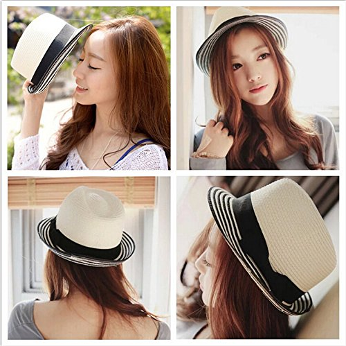 Yuhua white straw hat female summer hat folding Korean sea border in the summer stripe bow