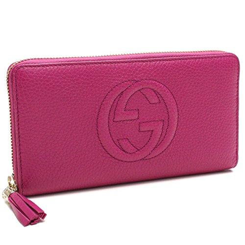 Gucci Soho leather zip around wallet Pink Bright Bouganville New