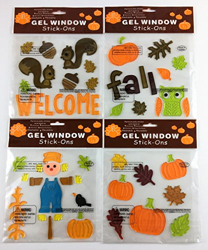 Fall Harvest Gel Window Clings Decoration Bundle Set Pumpkins Scarecrow Squirrels Owl Bundle