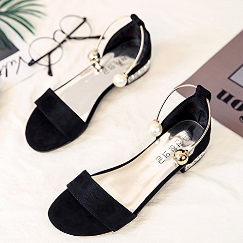 RUGAI-UE Sandalias de fondo plano estudiantes Simple talón plano hebilla Perla Zapatos Zapatos de mujer Black