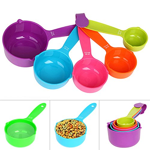 Rypet Pet Food Scoop Set of 5 - Measuring Cups and Spoons Set Plastic for Dog, Cat and Bird Food (Random Color)