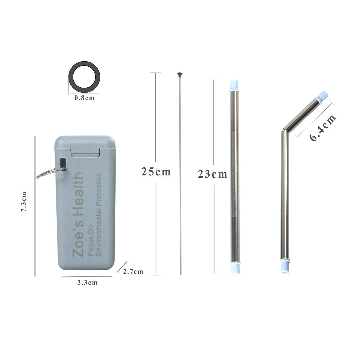 Portable Straws,Food-Grade,Wheat Case with Cleaning Brush Blue + Yellow Collapsible Straw,Reusable Stainless Steel Shenzhen BTSKChina Co LTD Fold Straws