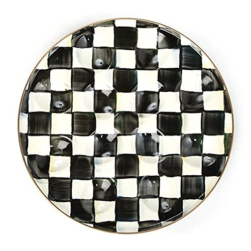 MacKenzie-Childs Hand Painted High Contrast Courtly Check Enamel Egg Plate