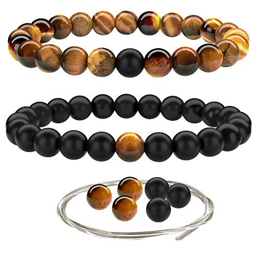 Onyx Eye Black - Beaded Gemstone Bracelets for Men and Women: Brown Tiger Eye and Black Onyx Bracelet Sets w/Spare Beads and Crystal Elastic Cord - Mens and Womens Boho Jewelry - 7.25 Inch Bead Bracelets w/ 8mm Beads