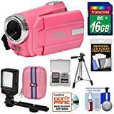 Vivitar DVR 508 NHD Digital Video Camera Camcorder (Bubble Gum Pink) with 16GB Card + Case + LED Video Light + Tripod + Kit