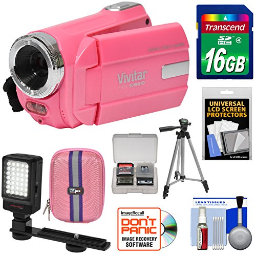 Vivitar DVR 508 NHD Digital Video Camera Camcorder (Bubble Gum Pink) with 16GB Card + Case + LED Video Light + Tripod + Kit by Vivitar