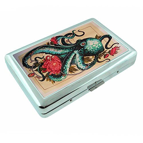 For Cigarette or Rolling Paper Like Raw Metal Silver Cigarette Case Holding 100's Octopus flower ()