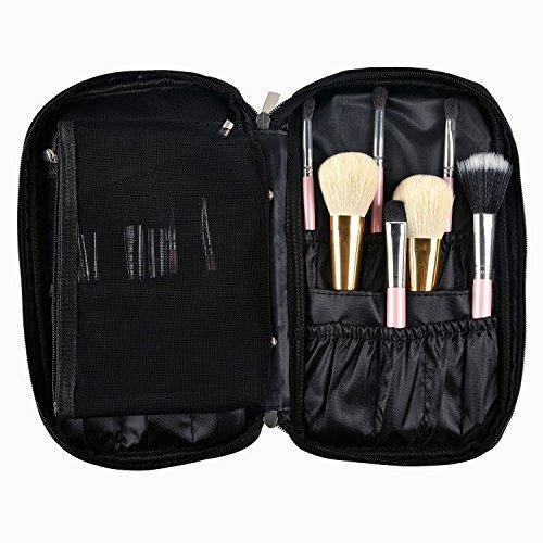 Xber Makeup Brush Zipper Holder Organizer Bag Makeup Handbag Cosmetic Artist Case with Inner Mesh Bag for Travelmall & Home (Black Large)