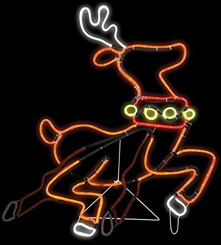Animated Light Glo Reindeer Sign Holiday Theme Party Christmas Decoration