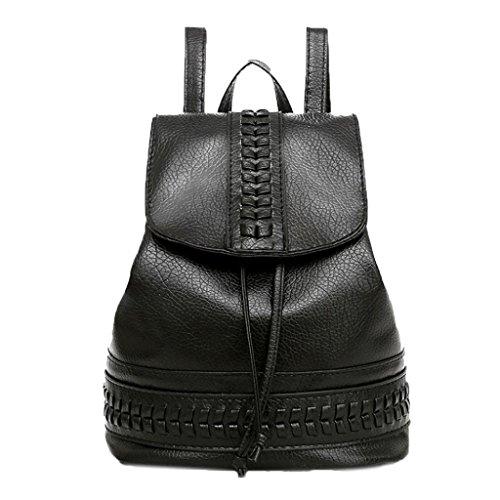 Weekend Drawstring (Creazrise Women Backpack,Women Black DrawString backpack Woven leather Backpack)