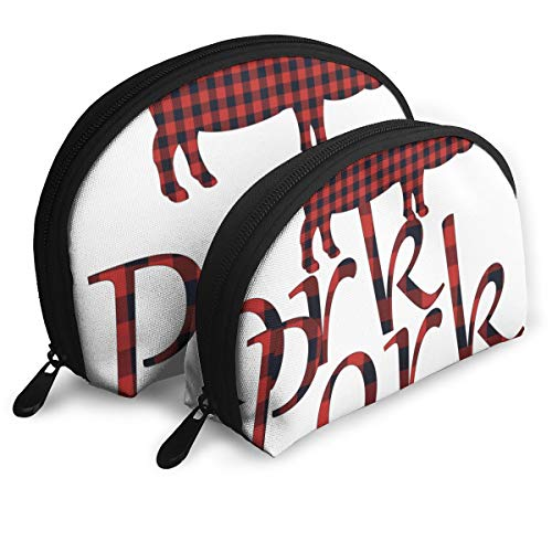 Ennieee Buffalo Plaid Pig Pork Set of 2 Portable Makeup Bag Cosmetic Pouch Bag Pen Pencil Case Travel Bag for Women Girls and Students