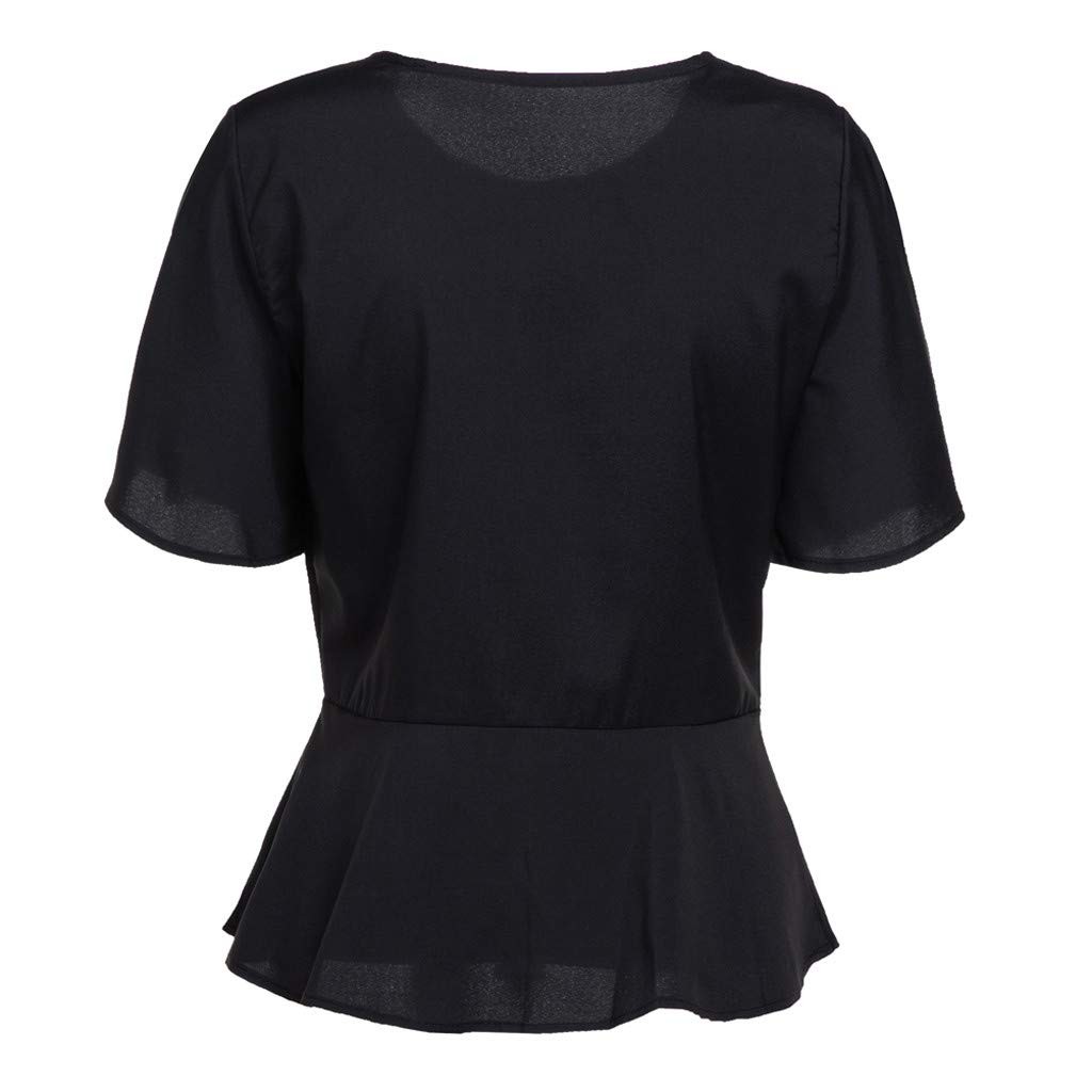 Amazon.com: MOSERIAN Womens Blouse O-Neck Loose Patchwork ...