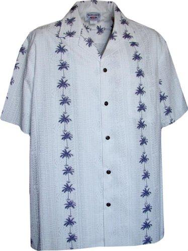 Hawaiian Aloha Shirt Palm Tree Lei Panels White (Made in Hawaii)