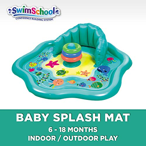 (SwimSchool Baby Splash Mat with Removable Canopy and Backrest, Extra-Wide Inflatable Mat with Three Toys, 6 to 24 Months, Aqua)