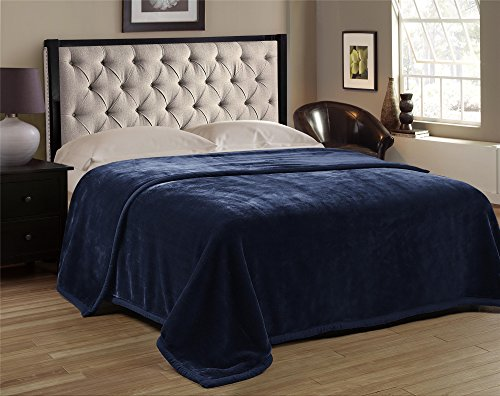 Premium Thick Blanket with Double Layer Reversible Plush Raschel Blanket Blue Solid Color - Supersoft, Warm, Silky, Hypoallergenic, Fade resistant in Queen Size (Queen, Navy) (Plush Queen Raschel Blanket)