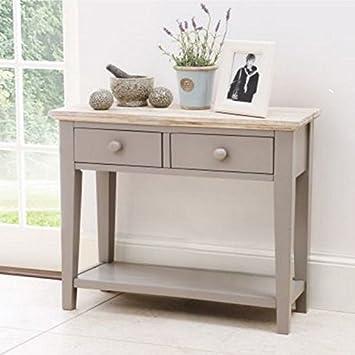 2 Schubladen Francesca Dünn Konsole Tisch Massiv Taube Schöne Gekalkte Top  Qualität Flur Möbel Grau Schmal