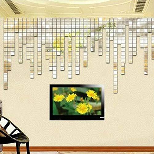 Ocamo 100Pcs 2x2CM DIY Mosaic Mirror Effect Wall Sticker Silver Acrylic Wall Sticker Home -